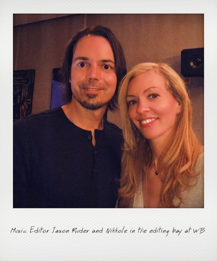 Music Editor Jason Ruder and Nikkole in the editing bay at WB
