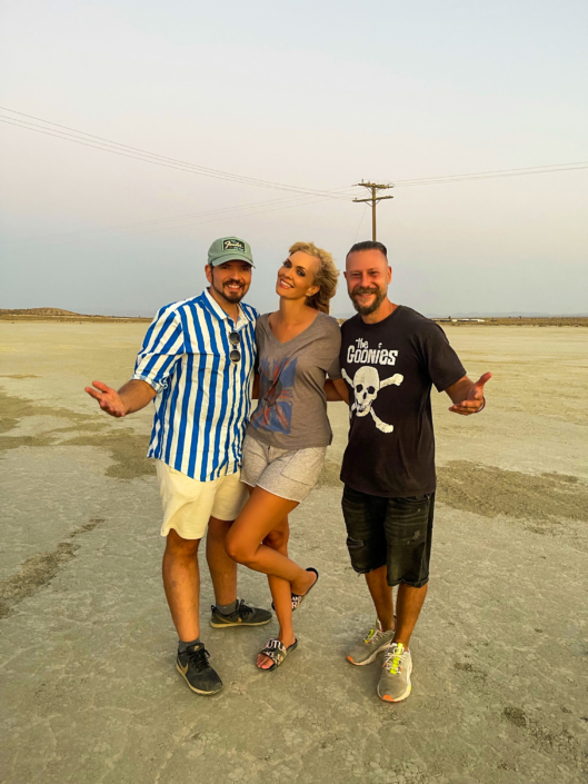 """Wallace Hall, Nikkole and director Ethan Lader on location shooting the video for """"All Mine"""""""