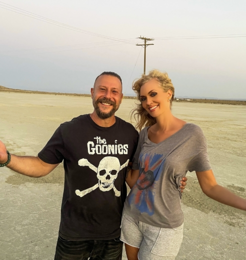 """Nikkole and director Ethan Lader on location shooting the video for """"All Mine"""""""